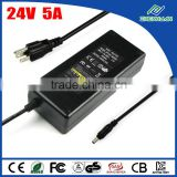 AC to DC 24 volt 5 amp power supply 24V 5A 120W adapter converter, 5.5*2.1mm DC plug