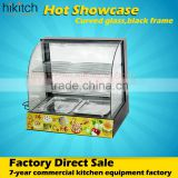 Curved hot food display glass food warmer showcase 3 layers for bread cake bakery store
