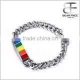 Simple Style Stainless Steel Rainbow Rubber Gay & Lesbian LGBT Pride Bracelet Silver