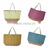 raffia printing beach bag tote style made of 12oz cotton canvas material