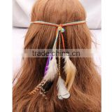 2016 Hot-Selling Girl BOHO Suede Feather Celebrity Peacock Multicolor Feather Tassels Hair Head Band