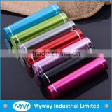 high quality metal round tube battery charger / mobile power bank 2600mah / portable power supply for cellphone