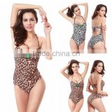 New Arrival Sexy Push Up Leopard Print Women Swimwear One Piece Swimsuit Backless Halter Belt M,L,XL Elastic Swimming Suit