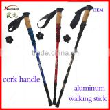 popular xia guang three sections cork handle aluminum telescopic trekking pole nordic walking stick