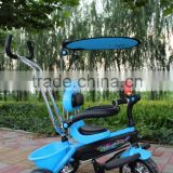 2016 New luxury metal frame children tricycle with canopy/baby tricycle with 4 in 1/cheap kid's tricycle with safeguard