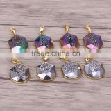 Titanium AB Quartz Pendant Hexagon Point Gold Plated Rainbow / Silver Gray Gemstone Charm Druzy Jewelry