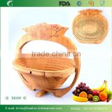 BK009/Vietnam bamboo fruit baskets for restaurants bamboo folding fruit basket cheap rattan and bamboo basket for kitchen
