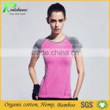 women's short sleeve O neck bamboo cotton spandex slim fitted t-shirts wholesale