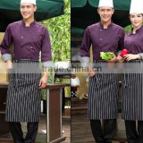 Hotel Chef Kitchen Bar Restaurant cotton ployester black and white stripe strap adjustable waiter and waitress apron