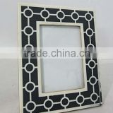 Black & White linnig Designer photo frame With Covered Border Stone, Picture Frame Home Decoration, Interior Decoration