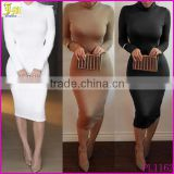 New Bodycon Sexy Club Party Dresses Black White Long Sleeve Soild Elegant Casual Slim Hip Bandage Dress