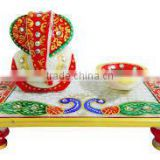marble artist home decor gifts Rich art and craft Choki Ganpati Hindu Deepak Diwali Chowki Ganesha