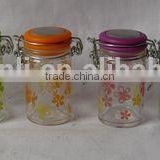 custom printing personalized customized glass spice jar with clamp lid