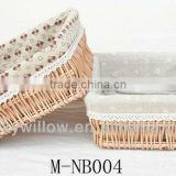 Wicker storage basket with liner& willow food / bread basket