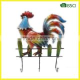 Metal Lovely rooster wall decorations iron hook home decoration wall hanging decorative metal wall art