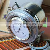 Stainless Steel Cigar Tobacco Humidor Jar with Hygrometer