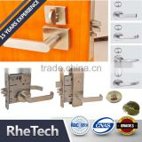 Heavy duty security hotel commercial Grade 2 door handle lever mortise lock body cylinder
