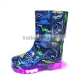 knee high printed hotsale LED light outsole pass REACH or California Prop 65 testing kids PVC rain boots wellies gumboots