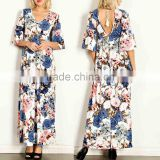 Occasion Dresses FLORAL PRINT JERSEY KNIT BELL SLEEVES MAXI DRESS Latest design muslim dress