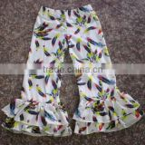 wholesale baby girl stretchy big ruffle pants children spring feather loose bell double ruffle pants sets