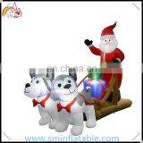 Christmas air blown inflatable santa sleigh, led lighted inflatable husky sleigh with gift &santa claus for christmas outdoor