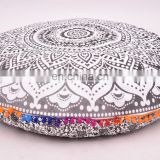 Indian 2017 Handmade Cotton Round Pillow Cover Mandala Cushion Cover Pillow Case Round Meditation Ottoman Pouf 32""