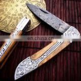 wholesale Damascus knifes - Real Pattern Damascus Steel Knife Custom Handmade Rose Wood Handle