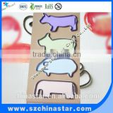 Big flat metal nickel plated steel assorted animal shaped paper clip