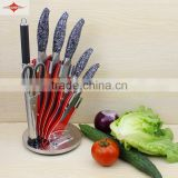 ZY-B7004 7pcs fashion design stainless steel kitchen knife set with hollow handle acrylic stand