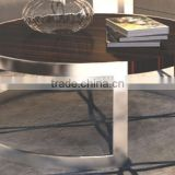 Round steel stainless frame cafe table chair set