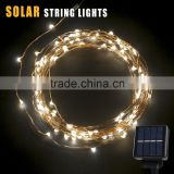 Outdoor Solar Powered LED String Lights Waterproof Copper Wire Lights for Garden Party 800mA Capacity