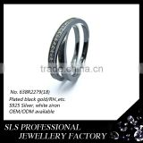 2015 New design black gold plated 925 silver white CZ infinity rings for christmas gift