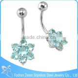 Lovely Curved Bar Blue Claw Cubic Zircon Bee Flower Navel Belly Ring