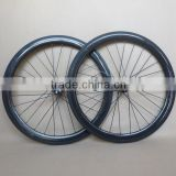 700C carbon fiber road bike wheel with disc hubs Front 28H Rear 28H 3K glossy 50mm clincher