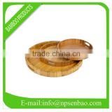 round bamboo serving tray with a handle