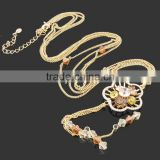 F.Y.L genuine gold jewelry full diamond flower long chain sweater chain Korean models