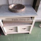 Unique design square sink white marble top bathroom cabinet with open area towel shelves from Vietnam