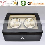 Manufacturer luxury made piano finish two watch winder automatic wooden box
