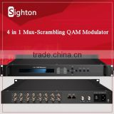 digital tv broadcasting equipment dvb-s/s2 rf output mux-scrambling QAM modulator with 16 asi input