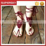 V-971 Fashion boho beach wedding barefoot sandals handmade crochet dance leg chain ankle bracelet indian foot jewelry