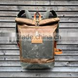 Custom hot sale and high quality waxed canvas backpack with leather trim                                                                         Quality Choice