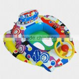 multi-color Learn-To-Swim inflatable baby boat with steering wheel,baby pool float