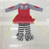 Wholesale little girl boutique party thanksgiving outfit autumn party dress children winter outfit