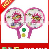 Beach ball racket games with soft plastic sheeting