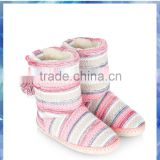 Striped knitted warm boots,stripe knitted ladies fashion boot,women lady half winter shoes