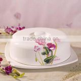 Manufacturer Type Ceramic Butter Dish with Flower Decal Cover