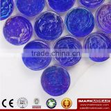 IMARK Penny Round shape Blue Iridescent Glass Mosaic Swimming Pool Tile