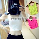 7 Colors Summer Style Women Short Sport Crop Top Sleeveless U Croptops Fitness Gym Tank Tops Femme Vest Tube Top