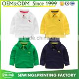 Wholesale new fashion baby boys pure cotton long sleeves childrens blank polo shirt