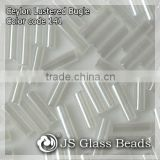 "High Quality Fashion JS Glass Seed Beads - 141# 3"" 6MM Ceylon White Opalescent Bugles Beads For Garment & Jewelry"